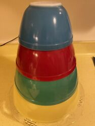 4-vintage Pyrex Mixing Bowls Primary Colors -pyrex Nesting Mixing Bowls Set