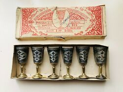 Kubachi Set Of 6 Goblets Cups Vintage Ussr Niello Russian Sterling Silver 875