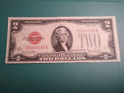 1928 G  Two Dollar Bill Red Seal Banknote... Choice Xf