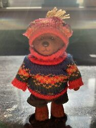 Russ Teddy Town Bear Sweater Corduroy Shorts And Hat 5quot; Resin Vintage Poseable
