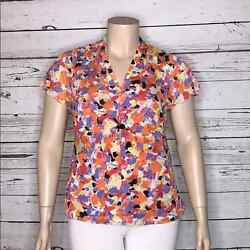 Relativity 1x Printed W/ Black Sequin Gathered Bust Area V-neckline Blouse