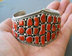 Native American Indian Navajo Coral Cluster Sterling Silver Cuff Bracelet Signed