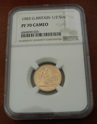 Great Britain 1983 Gold 1/2 Sovereign Ngc Pf70 Cameo