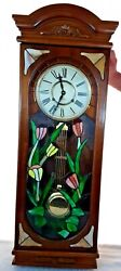 Antique 70and039s 37 Pendulum Clock Chime Wood Style Stained Glass Front Key