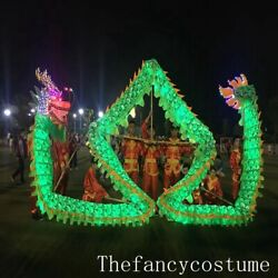 14m Adult Led Dragon Dance Silk Fabric Chinese Culture Folk Costume Stage Prop