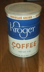 Vintage 1950's Kroger Coffee Tin Can With Lid Regular Grind Percolator Drip Pot
