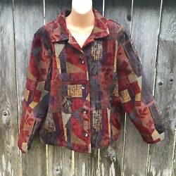 Coldwater Creek Tapestry Jacket Fall Colors Burgundy Eggplant Women#x27;s Size 1X