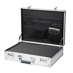 Aluminum Hard Case Briefcase Silver Toolbox Professional Carrying Case With Foam