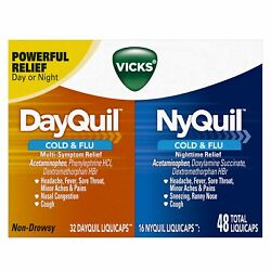 Vicks Dayquil And Nyquil Cold And Flu Combo Liquicaps   48 Count   Pack Of 12