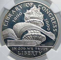 2000 United States Us Library Of Congress Torch And Books Silver Coin Ngc I89170