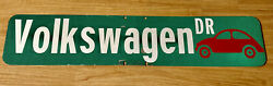Volkswagen Drive Street Road Sign With Red Vw Emblem Heavy Metal Grn/wht 42x 9