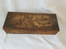 Antique Box Carved Leaves Collectible Early Glove Box Primitive