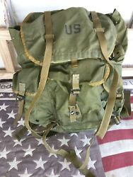 Lc-1 Combat Field Pack U.s. Military Alice Backpack Metal Frame And Straps Large