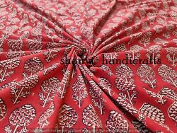 Indian Fabric Floral Print Cotton Fabric Hand Block Printed Natural Vegetable