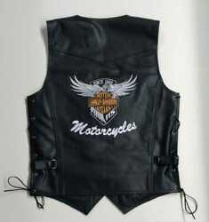Mens Real Leather Vests Jacket Harley-davidson Motorcycle Design With Embroidery