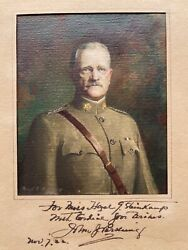 General John J. Pershing Original Autograph With Water Color Painting