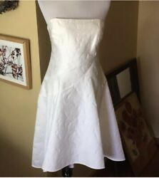 Halston Heritage Size 12 Strapless Cocktail Dress Brocade Floral Ivory 475 Nwt