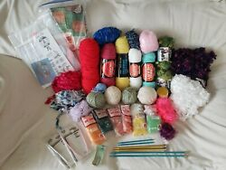 Huge Lot, Yarn, Knitting Needles, Canvas, Some New, Some Used, Some Vintage
