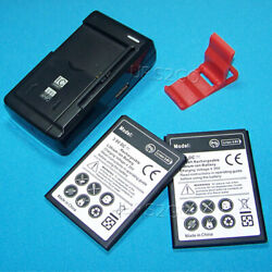 2x 3000ma Li_ion Battery Universal Dock Charger For Zte Zfive 2 Lte Z836bl Phone