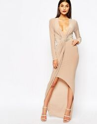 Club L Slinky Maxi Dress With Knot Front Detail Beige Champagne New Size 12