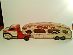 Vintage Metal Marx Auto Transport Semi And Trailer Collectable