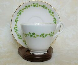 Royal Stuart Bone China Tea Cup And Saucer Shamrocks Made In England With Stand