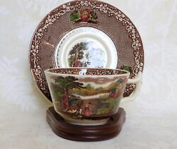 Royal Staffordshire England Brown Jenny Lind 1795 Tea Cup Saucer And Stand