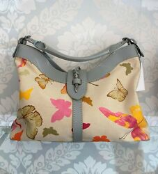 Valentino Canvas Multi-color Butterfly Print Leather Trimmed Shoulder/hand Bag