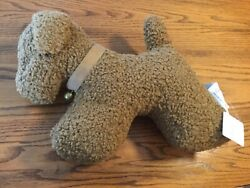 Pottery Barn Tobacco Teddy Faux Fur Doodle Dog W/ Bell Pillow Sold Out Nwt