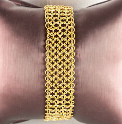 Vintage 1960and039s 18k Yellow Gold Fashion Woven Style Bracelet 17.4g 7 Length