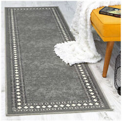 Modern Bordered 2x7 Non-slip Low Profile Pile Rubber Backing Indoor Area Rug