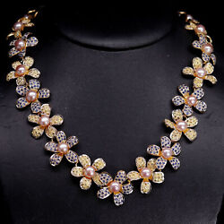 Natural Heated Pink With Yellow Sapphire And Pink Pearl Flower Necklace 925 Silver