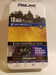 Trilink Saw Chain S62 3/8 18 Chain Fits Craftsman/echo/poulan/homelite 2 Pack