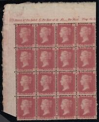 Sg 43 Great Britain 1864-79. One Penny Red Plate 89. Top Left Side Block Of 16..