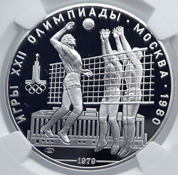 1979 Moscow 1980 Summer Olympics Volleyball Proof Silver 10ruble Coin Ngc I89299