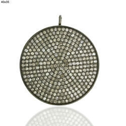 5.45ct Pave Diamond .925 Sterling Silver Vintage Look Disc Pendant Women Jewelry
