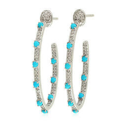 Pave Diamond Turquoise Inside Out Hoop Earrings 925 Sterling Silver Jewelry Gift