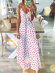 Women Ladies Long Maxi Dress Boho Holiday Beach Summer Floral Cocktail Sundress