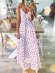 Women Ladies Long Maxi Dress Boho Holiday Beach Summer Floral Cocktail Sundress $14.99