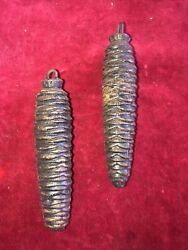 Pair Of German Cone Shaped Black Forest Cuckoo Clock Weights 250/260 Grams 1940s