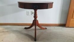 Vintage Antique Round Wood Drum End Accent Table Drawer Claw Feet 3 Legged
