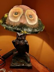 Pairpoint Puffy Reverse Painted Owl Bird Lamp