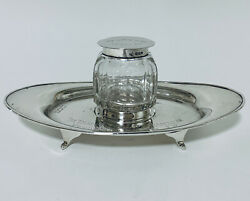 Antique Solid Sterling Silver Desktop Inkstand Inkwell And Tray 1917 Carpenters