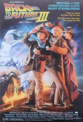 Michael J Fox Christopher Lloyd Signed Back To The Future 3 27x40 Poster Psa