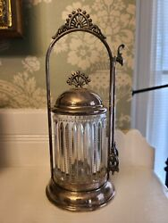 Antique Ornate Eg Webster Silverplate Pickle Castor W/ Tongs And Ribbed Jar Exc