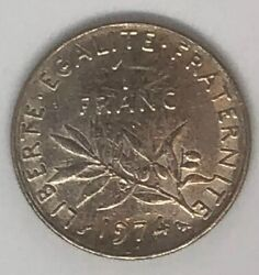 1 Franc Coins Republique Francaise 1974 World Currency- Europe, France