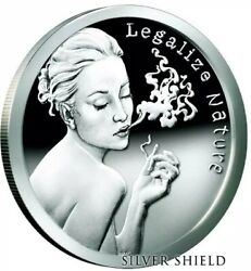 1 Oz .999 Pure Silver Shield Proof Legalize Nature Sbss Pot Round Coin Marijuana