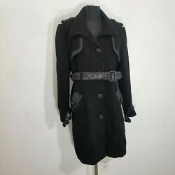 Badgley Mischka Women Jacket Sz L Wool Leather Black Trench Coat Belted Military