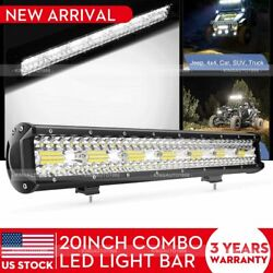 Cree Led Light Bar 20inch Tri-row Spot Flood Combo Driving Offroad Reserve Truck