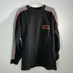 Harley Davidson Long Sleeve Shirt Quality Oil Large W/ Patches On Arms And Back